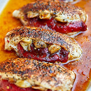 Roasted Pepper and Garlic Baked Stuffed Chicken Breast