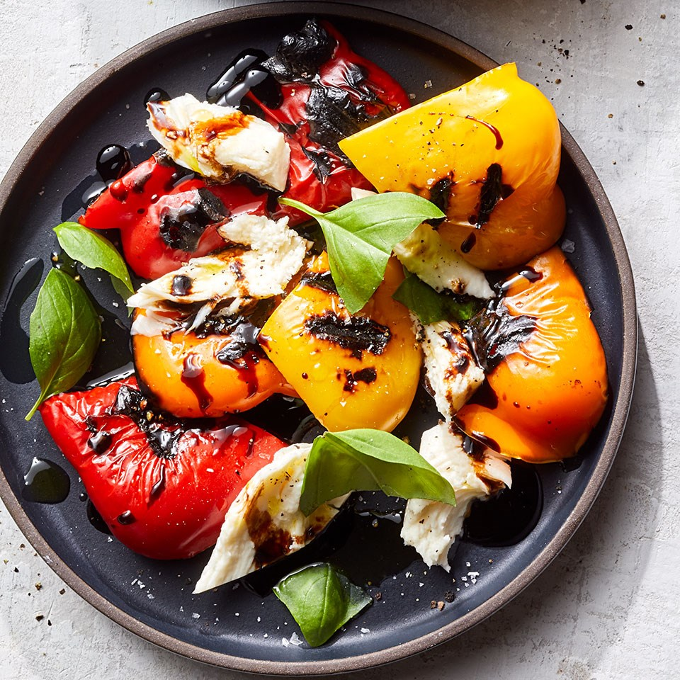 Roasted Bell Pepper Salad with Mozzarella & Basil